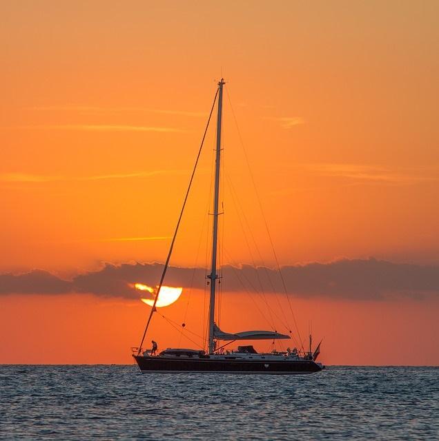 Luxury yacht sunset